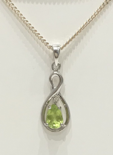 Peridot And Diamond Silver Necklace